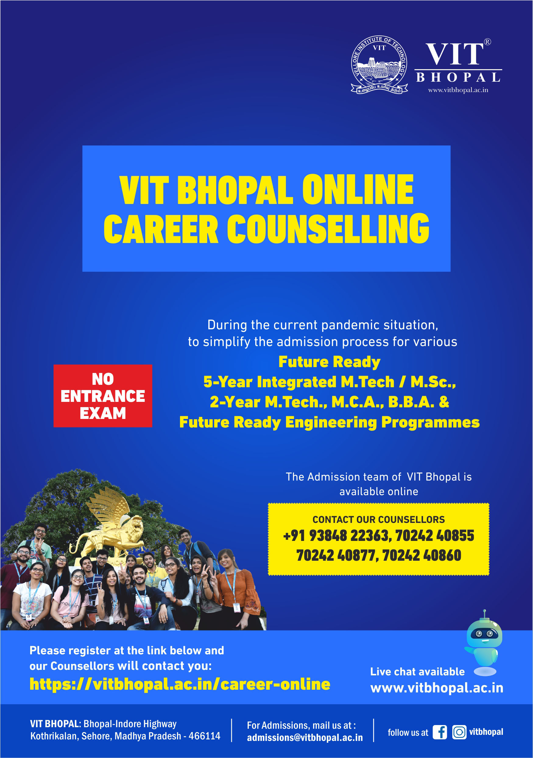 VIT Bhopal  - Best University in Central India -  Admission-Mailer-Online
