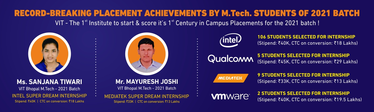 VIT Bhopal  - Best University in Central India -  MTech-Placement-1
