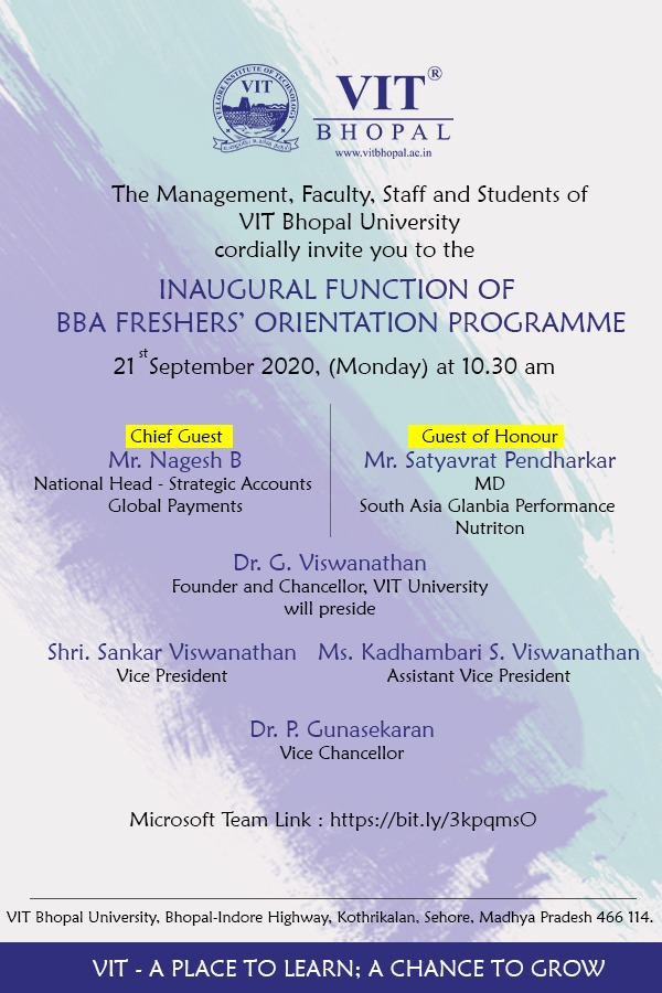 VIT Bhopal  - Best University in Central India -  Invitation-Card-BBA-Oreintation
