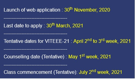 VIT Bhopal  - Best University in Central India -  important-dates