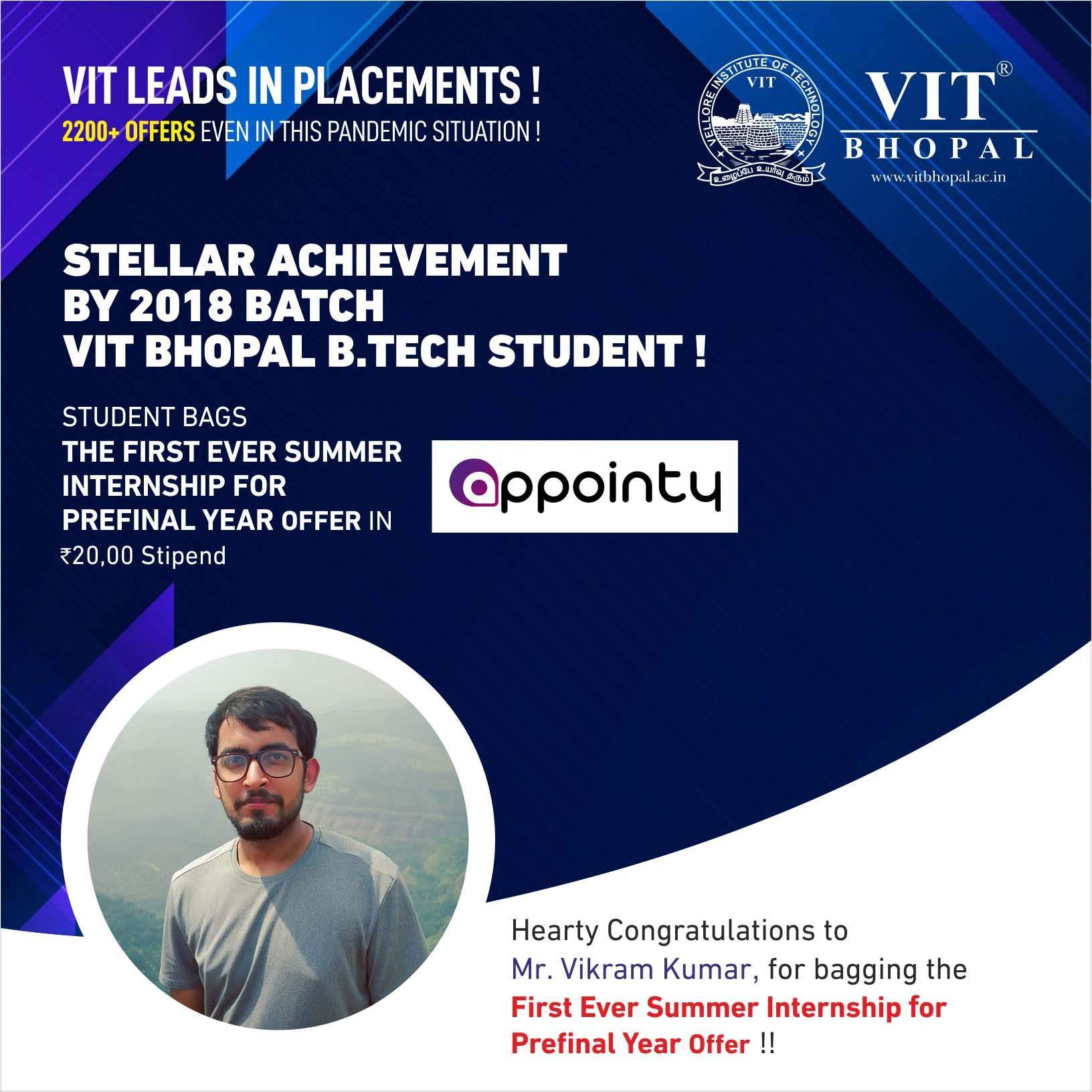 VIT Bhopal  - Best University in Central India -  Internship-Vikram-Kumarc