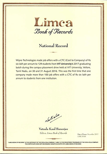 VIT Bhopal  - Best University in Central India -  Limca-Record-2020_0